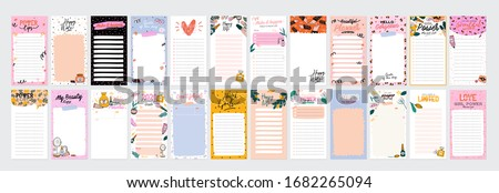 Collection of weekly or daily planner, note paper, to do list, stickers templates decorated by cute beauty cosmetic illustrations and trendy lettering. Trendy scheduler or organizer. Flat vector Foto d'archivio ©