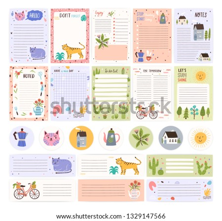 Collection of weekly or daily planner pages or stickers, sheet for notes and to do list templates decorated by cute cartoon animals and plants. Modern scheduler or organizer. Flat vector illustration.