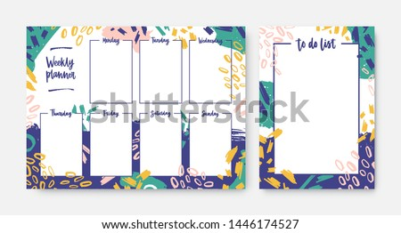Collection of weekly planner and to-do-list templates with frame decorated by bright colored brush strokes and scribble. Everyday task and appointment planning. Modern creative vector illustration.