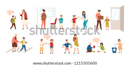 Collection of well-behaved kids isolated on white background. Set of children demonstrating good manners - open door, helping old lady to cross road, offering seat to woman. Vector illustration.