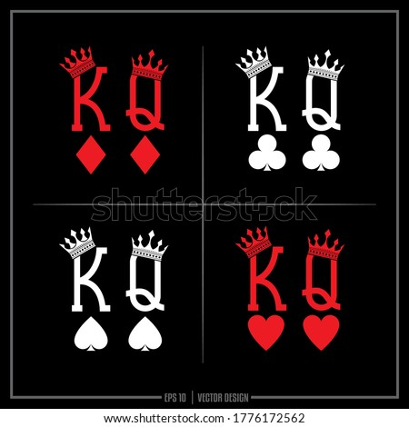 Collection of 4 white and red King and Queen insignias, King of Hearts, Queen of Hearts, King of Diamonds, Queen of Diamonds Сток-фото ©