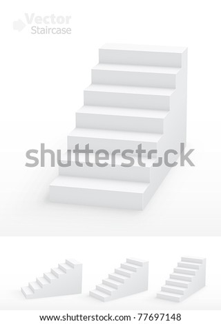 Collection of white 3D staircases Vector illustration