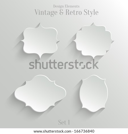 Collection of white paper banners in vintage and retro style. Set 1