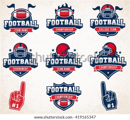 Collection of White, Red and Blue Vector Football logos and insignias