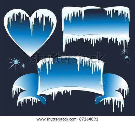 Collection of winter banners with icicles. Vector wintry design elements