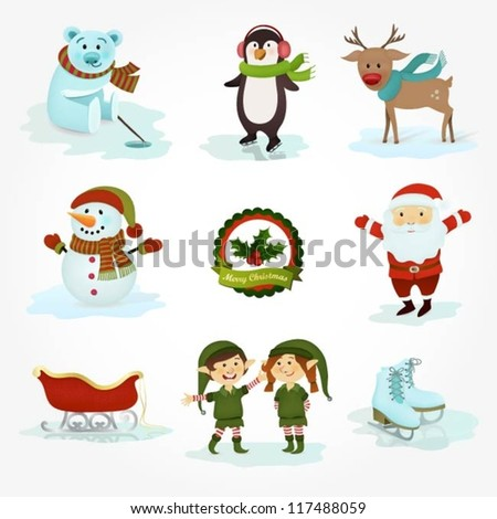 Collection of winter characters and objects