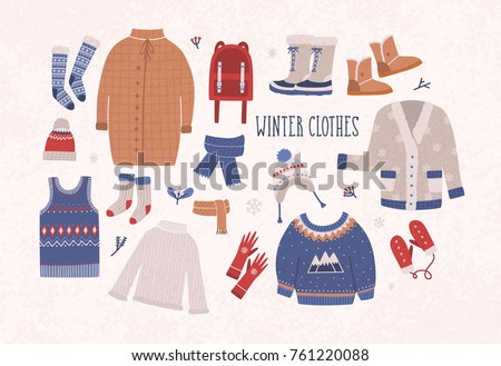 collection of winter clothes