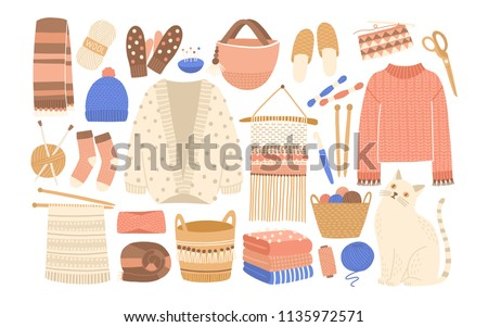 Collection of winter knitted clothes and knitting tools isolated on white background - woolen jumper, cardigan, scarf, hat, mittens, socks, needles, hook, yarn. Flat cartoon vector illustration