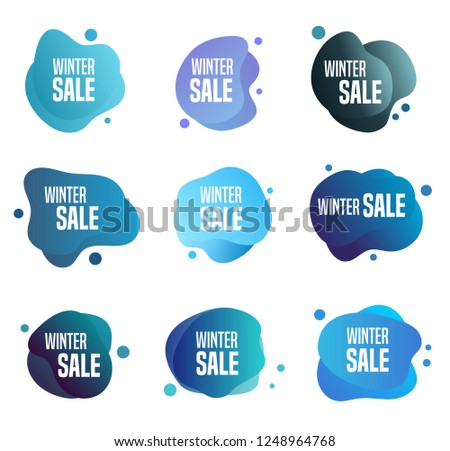 Collection of winter sales buttons - to use to promote seasonal discounts