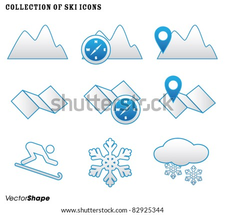 Collection of winter SKI icons, vector illustration