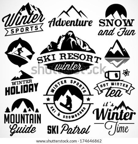 collection of winter sports...