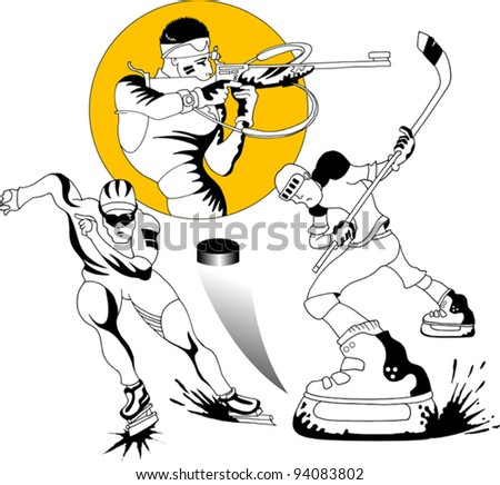 collection of winter sports. The vector-illustration;