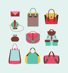 collection of woman bags for day and evening illustration eps 10