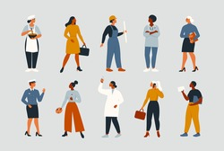 Collection of women people workers of various different occupations or professions wearing a professional uniform set vector illustration.