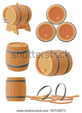 Collection of wooden barrels - stock vector