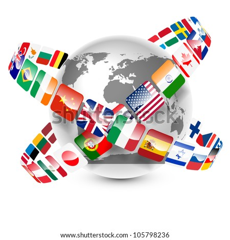 collection of world flags around the earth vector