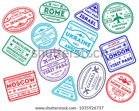 Collection of worldwide arrival visa stamps in colors on white background.