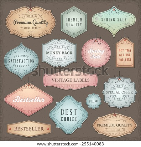 Collection of worn vintage vector labels.