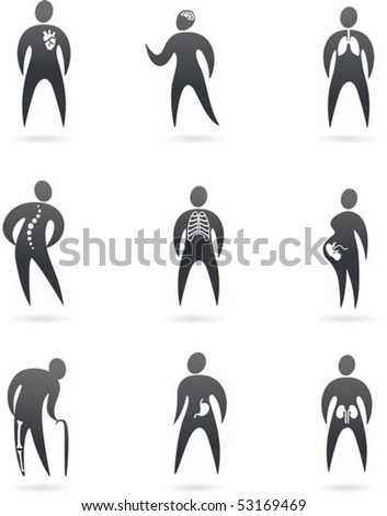 Collection of X-ray styled human  icons