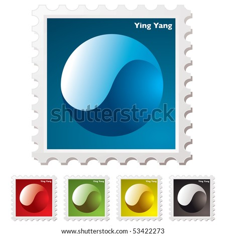 Collection of ying yang stamps with transparent effect