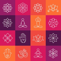 Collection of yoga icons, relaxation and meditation symbols