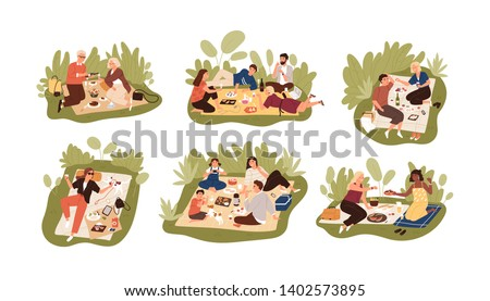 Collection of young and elderly people at picnic. Bundle of happy men, women and children eating meals outdoors. Set of friends, families and couples having lunch. Flat cartoon vector illustration.