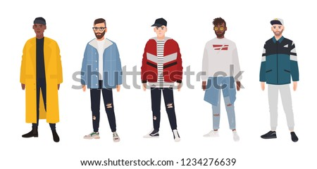 Collection of young men dressed in fashionable clothes isolated on white background. Set of guys wearing trendy apparel. Bundle of street style outfits. Flat cartoon colored vector illustration.