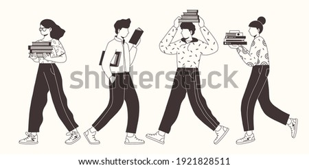 Collection of young people reading books. Book lovers, fans of literature. Concept of Book Week or World Book Day. Flat vector illustration isolated on white background.