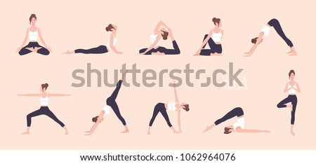 Collection of young woman performing physical exercises. Bundle of female cartoon character demonstrating various yoga positions isolated on light background. Colorful flat vector illustration.