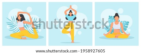 Collection of young women in yoga position. Physical and spiritual practice. The concept of yoga, meditation and relax. Health benefits for the body, mind and emotions. Flat vector illustration. Stock foto ©