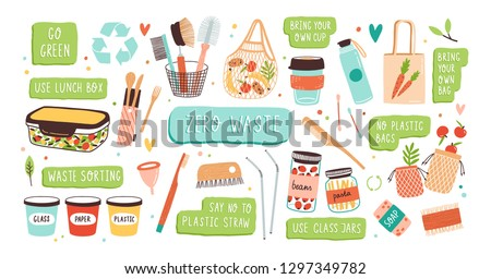 Collection of Zero Waste durable and reusable items or products - glass jars, eco grocery bags, wooden cutlery, comb, toothbrush and brushes, menstrual cup, thermo mug. Flat vector illustration.
