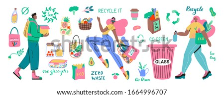 Collection of Zero Waste durable and reusable items or products - glass jars, eco grocery bags, wooden cutlery, comb, toothbrush and brushes, thermo mug. Flat vector set illustration