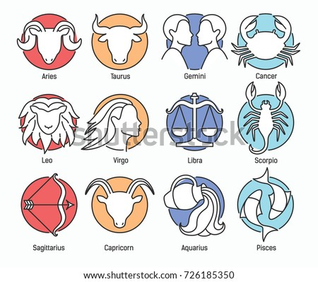 Collection of zodiac signs isolated on white background and indicated by colors of classical elements - fire, earth, air, water. Astrological constellation symbols. Colorful vector illustration.
