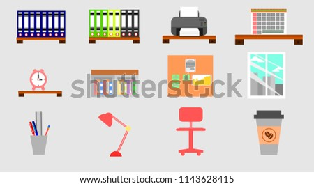 Collection Office supplies, printer, paper, pen, pencil, ruler, lamp, chair, file, clock, sky board, coffee window, cloud on the gray background Can be used both in print and on web.