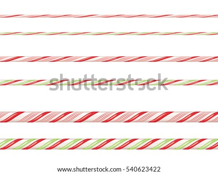 Collection on christmas borders with candy cane pattern.