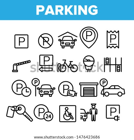 Collection Parking Thin Line Icons Set Vector. Parking Service Sign And GPS Mark, Garage With Car And Bicycle, Key And Park Place Linear Pictograms. Monochrome Contour Illustrations