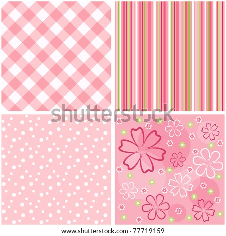 Collection pink seamless. Vector illustration.