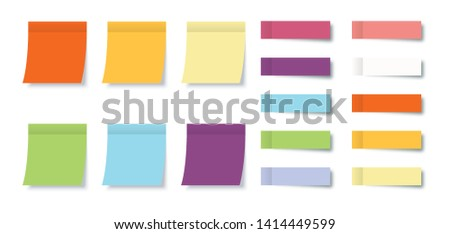 Collection Post Note Stickers with Sticky Notes isolated on white background. Color post note stickers. Eps10