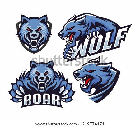 Collection professional wolf logo set for a sport team