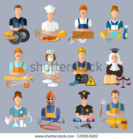 Collection professions. Auto mechanic, cook, carpenter, laundress, electrician, judge, doctor, pharmacist, climber, policeman, welder vector illustration. Profession people and avatars collection.