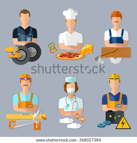 Collection professions set mechanic cook carpenter builder doctor electrician