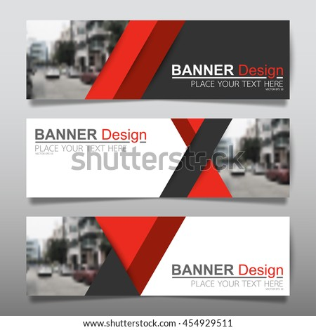 Collection red horizontal business banner set vector templates. clean modern geometric abstract background layout for website design. simple creative cover header. in rectangle