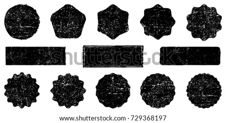 Collection retro stars shapes. Set rays design elements, grunge texture to create distressed effect. Black sparkles. Best for sale sticker, price label, quality sign. Vintage postal stamps, postmarks