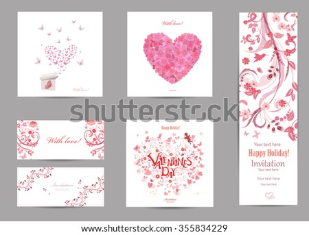 collection romantic invitation cards with love . butterflies are flying for your design. #355834229