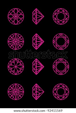 Collection round shapes of a gemstone against black background. Wireframe