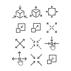 collection Scale Related Vector Line Icons like Increase, Decrease, Resize and more. Editable Stroke.eps 10