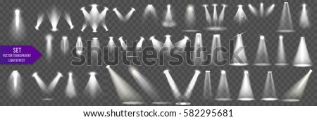 Shutterstock Collection Scene illumination big collection, transparent effects. Bright lighting with spotlights.