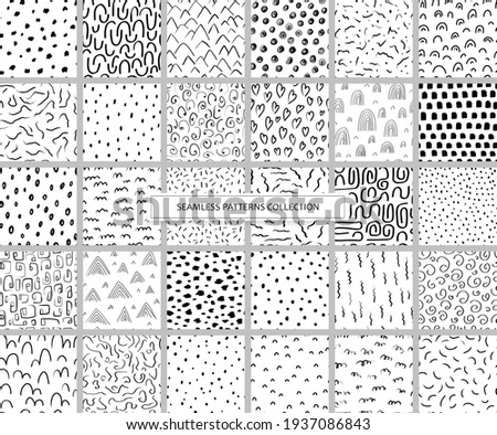 Collection seamless patterns with variety abstract shapes. Backgrounds with ink and marker in hand drawn style. Illustrations with dots, lines, stripes, and strokes in the Scandinavian style. Vector