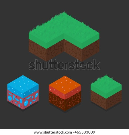 collection set of 3d isometric
