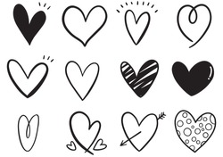 collection set of hand drawn scribble hearts isolated on white background